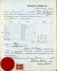 Image - a hospital release form of the Quartermaster Hospital, Nashville, Tennessee