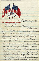Image of a Civil War letter with two crossing flags.